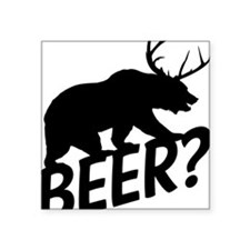 "The Bear Deer Beer Square Sticker 3"" x 3"""