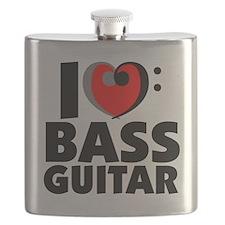 I Love Bass Guitar Flask