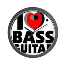 I Love Bass Guitar Wall Clock