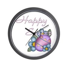 Happy Easter - Flower Wall Clock