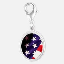 American Flag Silver Oval Charm