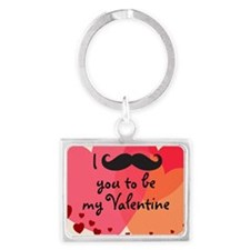 Mustache You Valentine Landscape Keychain