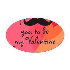 Mustache You Valentine Oval Car Magnet