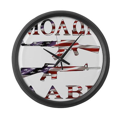 blk_molon_labe_flag_02 Large Wall Clock