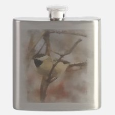 Chickadee Watercolor Flask