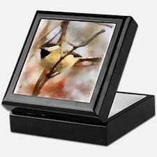 Chickadee Watercolor Keepsake Box