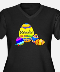 Chihuahua Easter Women's Plus Size V-Neck Dark T-S