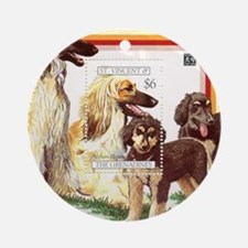 Afghan Hounds from St Vincent and t Round Ornament