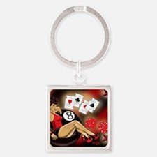 Rockabilly Eightball Pin-up Square Keychain