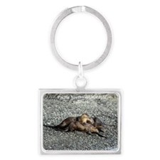 River Otters Landscape Keychain