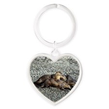 River Otters Heart Keychain