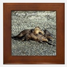 River Otters Framed Tile