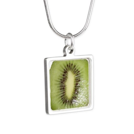 Kiwi Slice Silver Square Necklace
