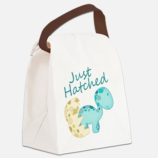 Just Hatched Blue Baby Dinosaur Canvas Lunch Bag