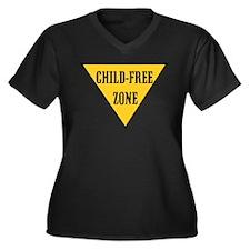Child-Free Zone Women's Plus Size V-Neck Dark T-Sh