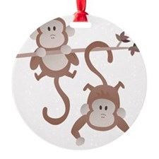 Cartoon monkeys hanging around Ornament