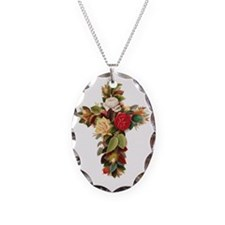 Rosy Cross Necklace Oval Charm