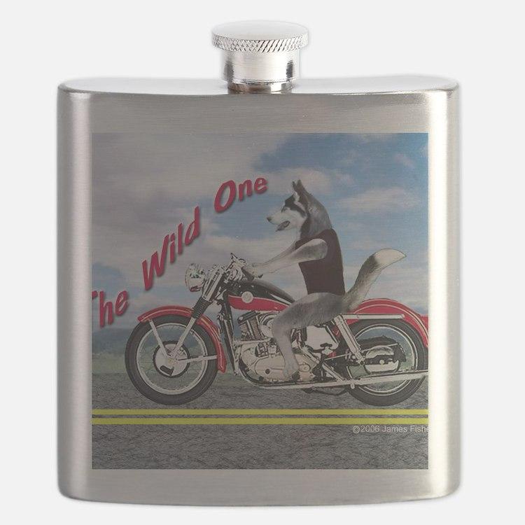 Siberian Husky Riding Motorcycle - The Wild  Flask