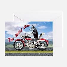 Siberian Husky Riding Motorcycle - T Greeting Card