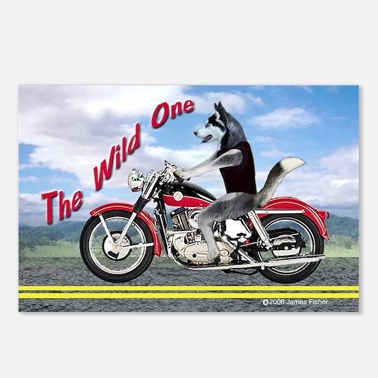 Siberian Husky Riding Mot Postcards (Package of 8)
