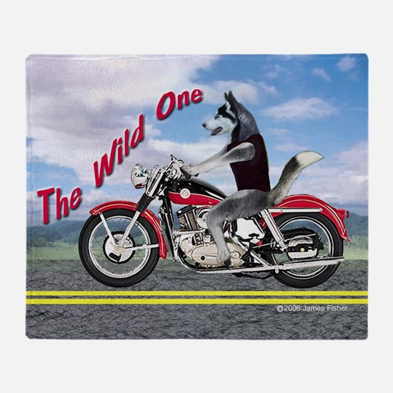 Siberian Husky Riding Motorcycle - T Throw Blanket