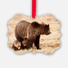 Grizzly Bear with cubs Ornament