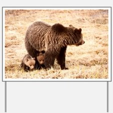 Grizzly Bear with cubs Yard Sign