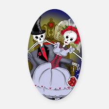 Muertos Bride and Groom Oval Car Magnet