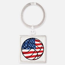 US Flag Volleyball Square Keychain