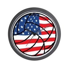 US Flag Volleyball Wall Clock