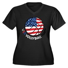 USA Volleyba Women's Plus Size Dark V-Neck T-Shirt