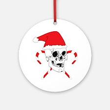 Santa Skull Round Ornament