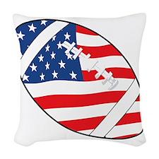 US Flag Football Woven Throw Pillow