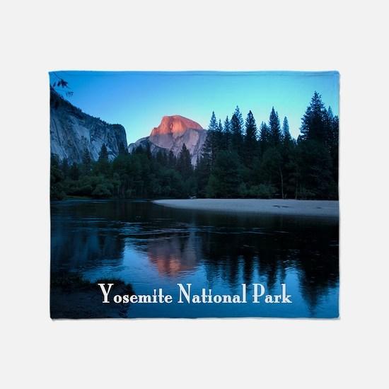 Half Dome sunset in Yosemite Nationa Throw Blanket