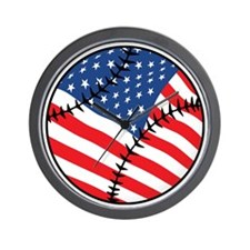 US Flag Baseball Wall Clock