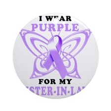 I Wear Purple for my Sister in Law Round Ornament