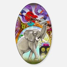 elephant calendar card Sticker (Oval)