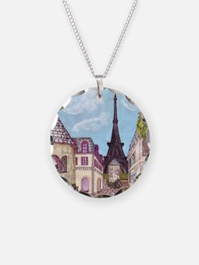 Paris Inspired Cityscape Eif Necklace