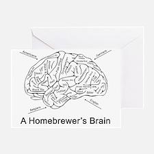 A Homebrewer's Brain (white) Greeting Card