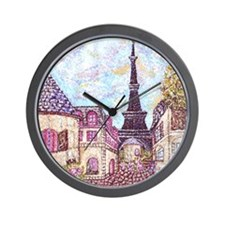 Paris Inspired Landscape Pointillism wi Wall Clock