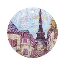 Paris Inspired Landscape Pointillis Round Ornament