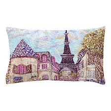 Paris Inspired Landscape Pointillism w Pillow Case