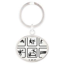 Disk-Golf-AAZ1 Oval Keychain