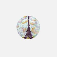 Eiffel Tower Pointillism With 2 Blue B Mini Button