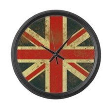 Vintage Union Jack Square Compact Large Wall Clock