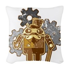 Steampunk Android (used-Look) Woven Throw Pillow