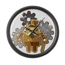 Steampunk Android (used-Look) Large Wall Clock