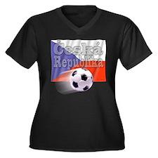 Soccer Flag Ceska Republika Women's Plus Size V-Ne