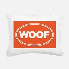 WOOF! Orange Rectangular Canvas Pillow