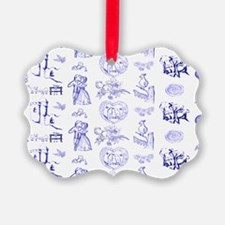 Blue Toile Pattern on 5x7 feet ru Ornament